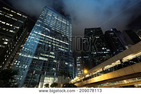 High-rise Office Buildings In Hong Kong At Night
