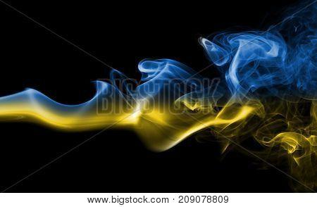 Ukraine smoke flag isolated on black background
