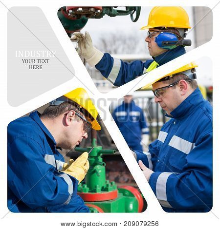 Oil And Gas Industry. Manufacturing photo collage