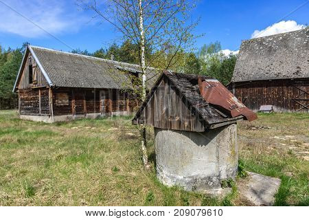 Abandoned farm buildings in forest complex called Kampinos near Warsaw Poland