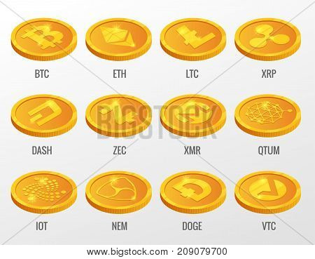 Isometric Vector set of Cryptocurrency gold coins with Bitcoin, ETH, LTC, XRP, DASH, ZEC, XMR, QTUM, IOT, NEN, DOGE, VTC. Digital virtual currency, form of money uses cryptography for security.