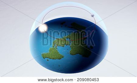 Flat Earth Model and Infinite Antarctica, Sun and Moon Moves Day and Night, World Under Glass Dome Firmament 3D Render