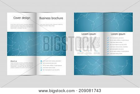 Bi-fold business brochure template with hexagonal abstract background. Geometric graphics and connected lines with dots. Medical, technological and scientific concept. Vector illustration