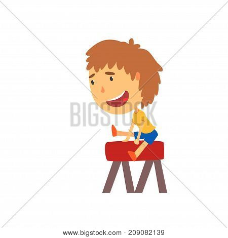 Sportive boy jumping over the vaulting horse, kids physical activity cartoon vector Illustration isolated on a white background