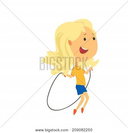 Happy blonde girl jumping with a rope, kids physical activity cartoon vector Illustration isolated on a white background