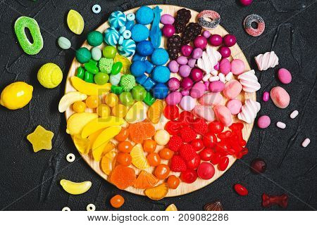 Colorful rainbow color candy bar. Top view.