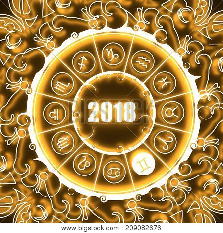 Astrological symbols in the circle. Twins sign. Celebration card template. Neon shine illumination. Zodiac circle with 2018 new year number. 3D rendering