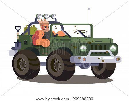 Driver man controls SUV car. Power car vehicle transportation on dust road. Vector illustration