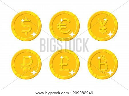 Gold coins different currency. Six icons with dollar, euro, yen, ruble, pound, bitcoin sign in cartoon style for business, finance, exchange money theme. Vector isolated on white background