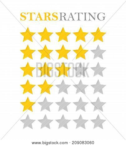 Golden star rating. Five stars. Symbol of best quality, high service, victories, awards and achievements. Bar filled in half. Vector illustration in cartoon style isolated on white background