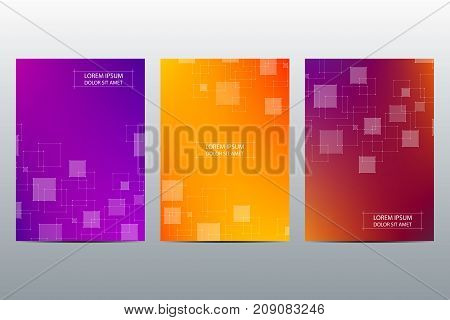 Set of abstract vector covers template. Brochure layout design, triangles and polygonal background. Linear digital texture, technological and scientific concept