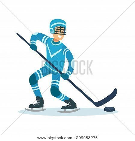 Male hockey player character, active sport lifestyle vector Illustration isolated on a white background