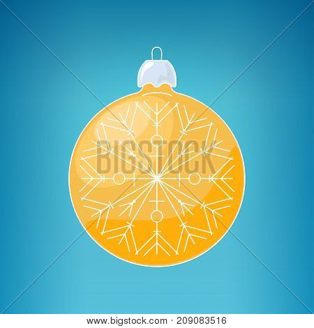 Christmas Yellow Ball with Snowflake Christmas Ball on a Blue Background Christmas Tree Decoration Merry Christmas and Happy New Year