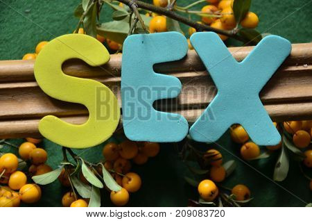 the word sex on a abstract colorful background