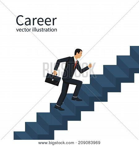 Businessman is climbing career ladder. Concept development. Vector illustration flat design. Isolated on background. Step by step. Human in a suit with a briefcase runs down stairs.
