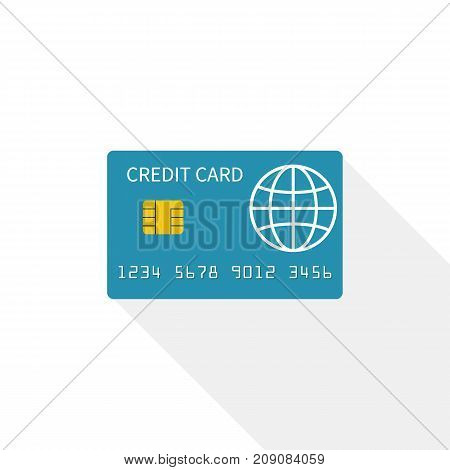 Credit card icon isolated on white background. Vector illustration, flat design style. Sign paying. Money on plastic. Payment purchase by credit card. Finance transaction.