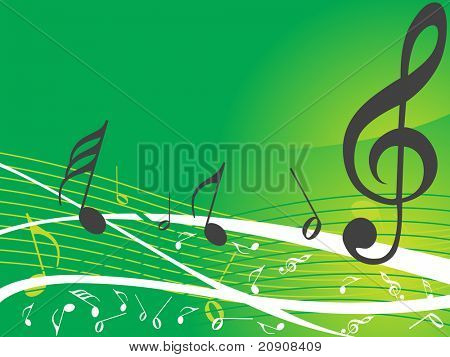 green musical background with different notes, wallpaper