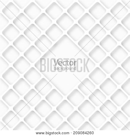 Geometric cellular pattern. Abstract spatial monochrome structure with a shadow. Stack of white net background with place for text