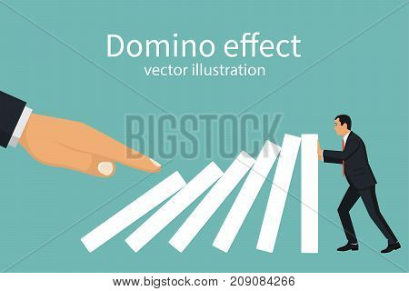 Domino effect concept. Big hand pushes dominoes standing in row. Human stops fall. Stopping chain reaction intervention. Vector illustration flat design. Isolated on white background. poster