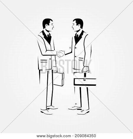Meeting businessmen sketch. Two businessmen in suits with briefcase shake hand line. Business concept. Vector illustration flat design isolated on background. Professional people. Deal agreement.
