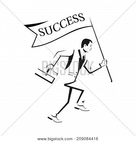 Sketch of human running with flag Success. Holding in hand flag. Business people. Concept of success. Goal achievement. Vector illustration flat design. Isolated on white background. Symbol of victory