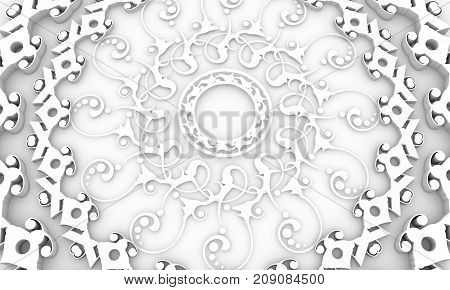 Decorative design element. Patterns with geometric ornament. Circular ornamental symbol. Islam, Arabic and Indian, ottoman motifs. 3D rendering