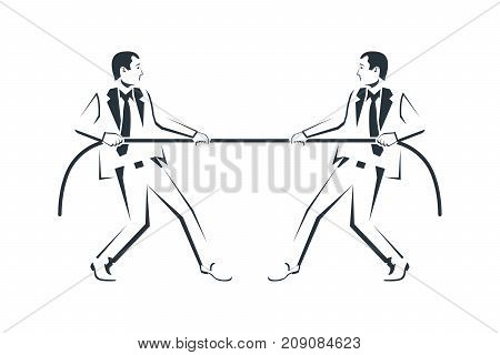 Tug concept silhouette. Two businessmen in suits pull the rope pictogram. Symbol of competition in business. Vector illustration flat design. Isolated on white background. Conflict of people.