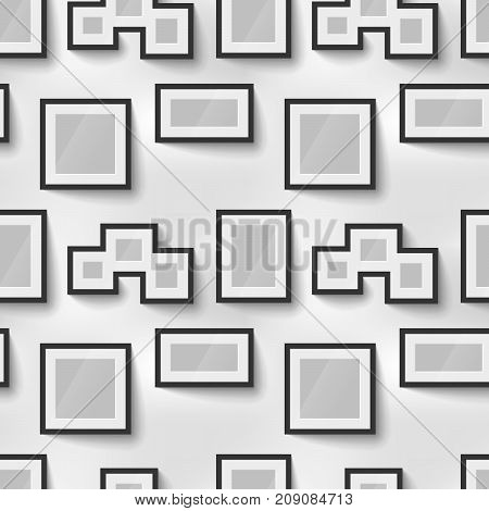 Different proportions black blank picture frames for photo on wall seamless pattern