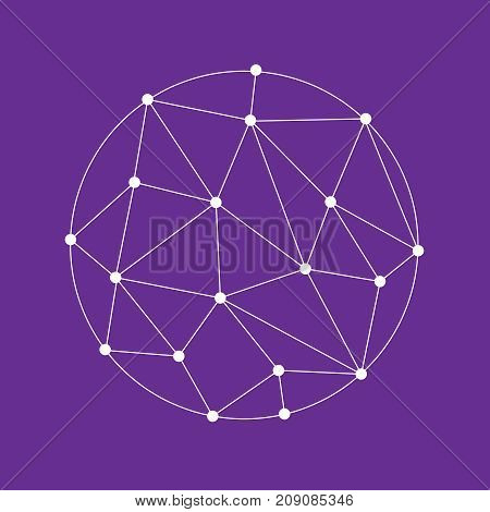 Icon Complex Polygon. Wireframe 3D Mesh Polygonal Vector Sphere