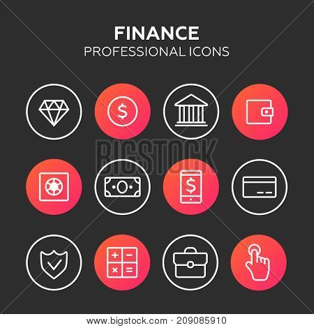 finance icon vector. Finance icons line style