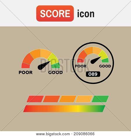 indicator score credit. Credit score indicators and gauges vector
