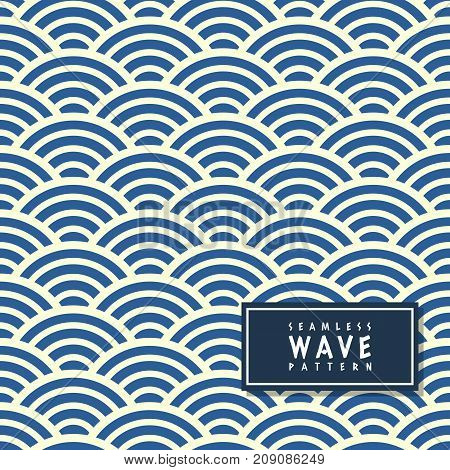 Seamless wave pattern in blue background.Ocean wave pattern in simple style background.