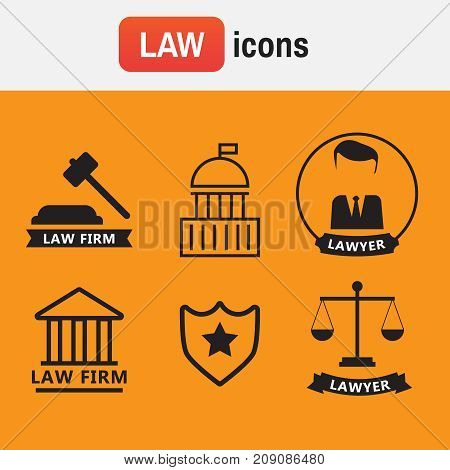 Icon solicitor advocacy. Lawyer concept. Lawyer icons in flat style. Lawyer sign and symbol vector
