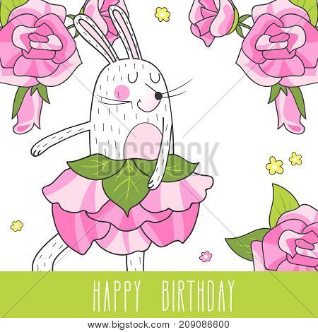 Greeting card with cute dancing hare and roses. Vector background.