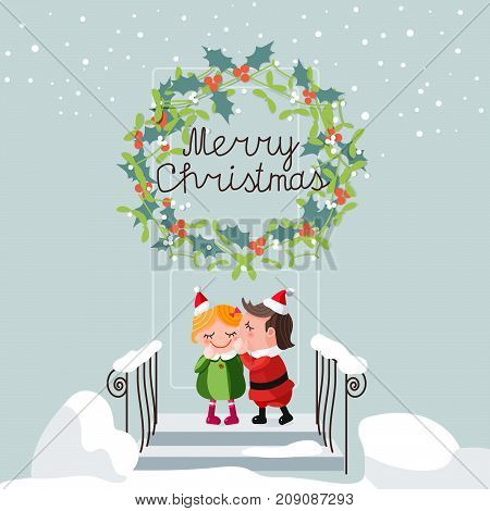 Сhristmas kiss of a little girl and boy in a Santa Claus costume under a mistletoe wreath at the door on the stairs. Christmas tradition. Vector illustration for card, background, banner