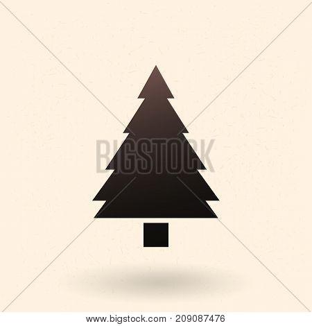Vector Black Silhouette Icon - Pine Tree
