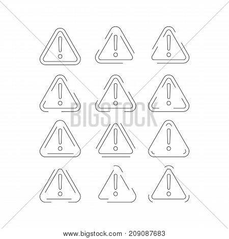 Set of attention outlined marks. Collection of danger signs