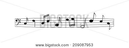 Musical notes line. Edging illustration of white background