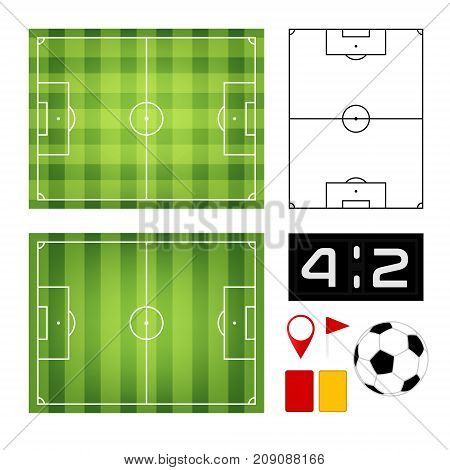 Soccer game design elements. Field ball table penalty card and flags