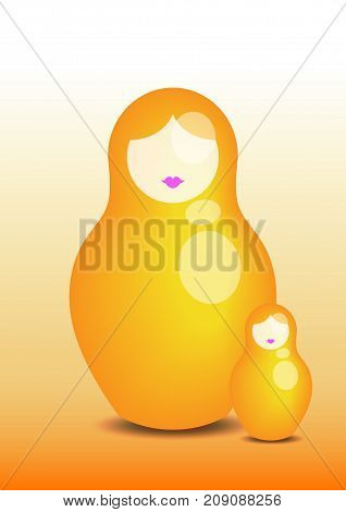 Russian nesting doll matrioshka, 3D icon symbol of Russia, vector isolated or yellow background