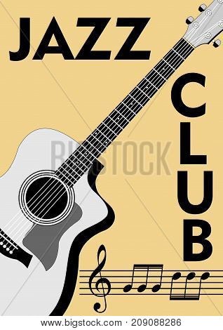 Jazz club leaflet with monochrome guitar drawing and notation in retro style. Treble clef stave and notes on old beige paper background. Vector EPS 10