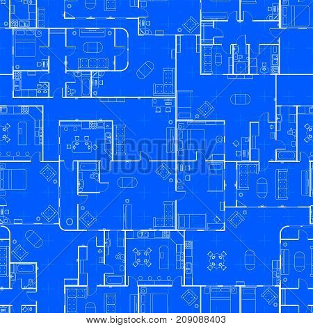 White house floor plan with interior details on construction blueprint scheme seamless pattern