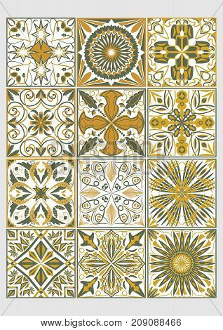Set of decorative tiles in azulejo style. Traditional Portuguese or Spanish ceramics. Geometric patterns combined with olive green and ocher colors. Vector EPS 10