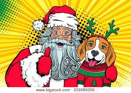 Wow pop art couple. Santa Claus with open mouth hugs dog funny surprised beagle in a sweater and deer horns andand shows thumb up. Vector Christmas illustration in retro comic style. New Year poster.