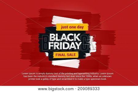 Black Friday sale inscription. Great discounts. Abstract ink blots on a red background. Brush strokes. Black Friday template for your banner or poster. Sale and discount. Vector illustration