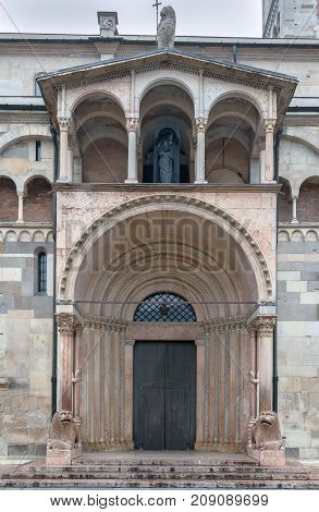Portal. Modena Cathedral is a Roman Catholic Romanesque church in Modena Italy. Consecrated in 1184 it is an important Romanesque building in Europe and a World Heritage Site.