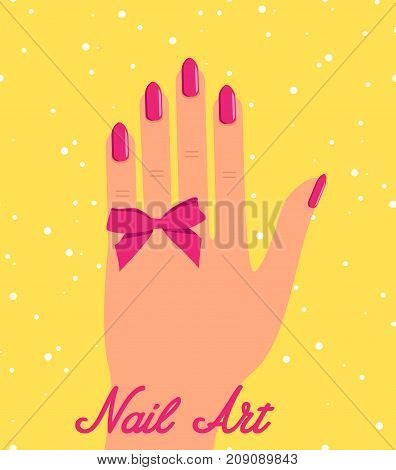 Woman hand with pink fingernails and pink bow on black background with sparkles. Gift certificate for nail salon