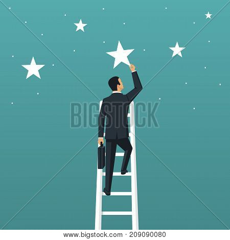 Reaching goal. Get star. Businessman climbed high up stairs. Human holds big star isolated in background night sky. Concept of reward, victory. Vector illustration flat design. Successful achievement.