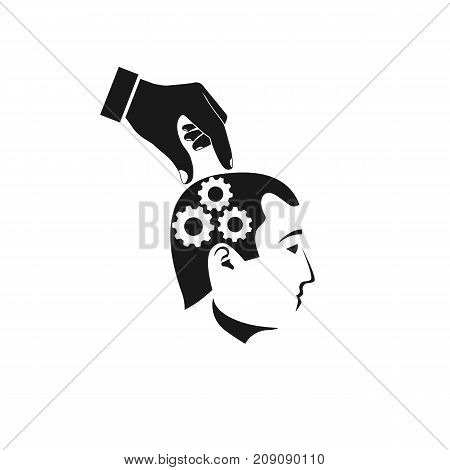 Mind control black icon. Improvement brain concept. Direction of thought. Repair of damaged brain. Vector illustration flat design. Isolated on white background. Gears in head.