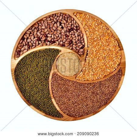 Vegetarian food.Useful food. Harvest of grain crops. Isolated grain crops, top view. Seeds of legumes. A pattern from food.
